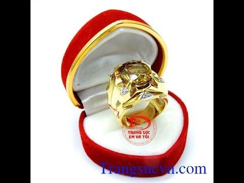 Nhẫn nam thạch anh hợp phong thủy, Nhẫn vàng tây nam đẹp , TSVN014475