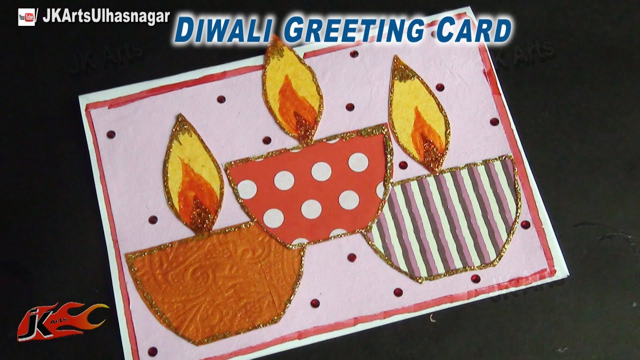 Superb Diwali Greeting Card Making Ideas Part - 10: DIY Diwali Greeting Card | How To Make | School Project For Kids | JK Arts  699 - YouTube