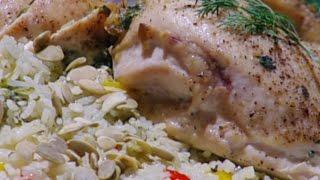 رول الدجاج المحشي وأرز بالفلفل الملون - غادة التلي