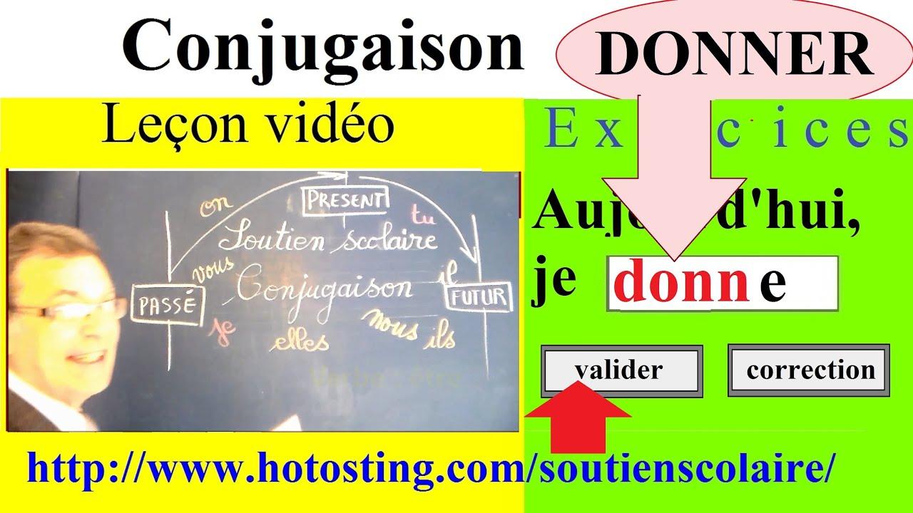 Conjugaison Ce1 Ce2 Verbe Donner Imparfait Present Futur Youtube