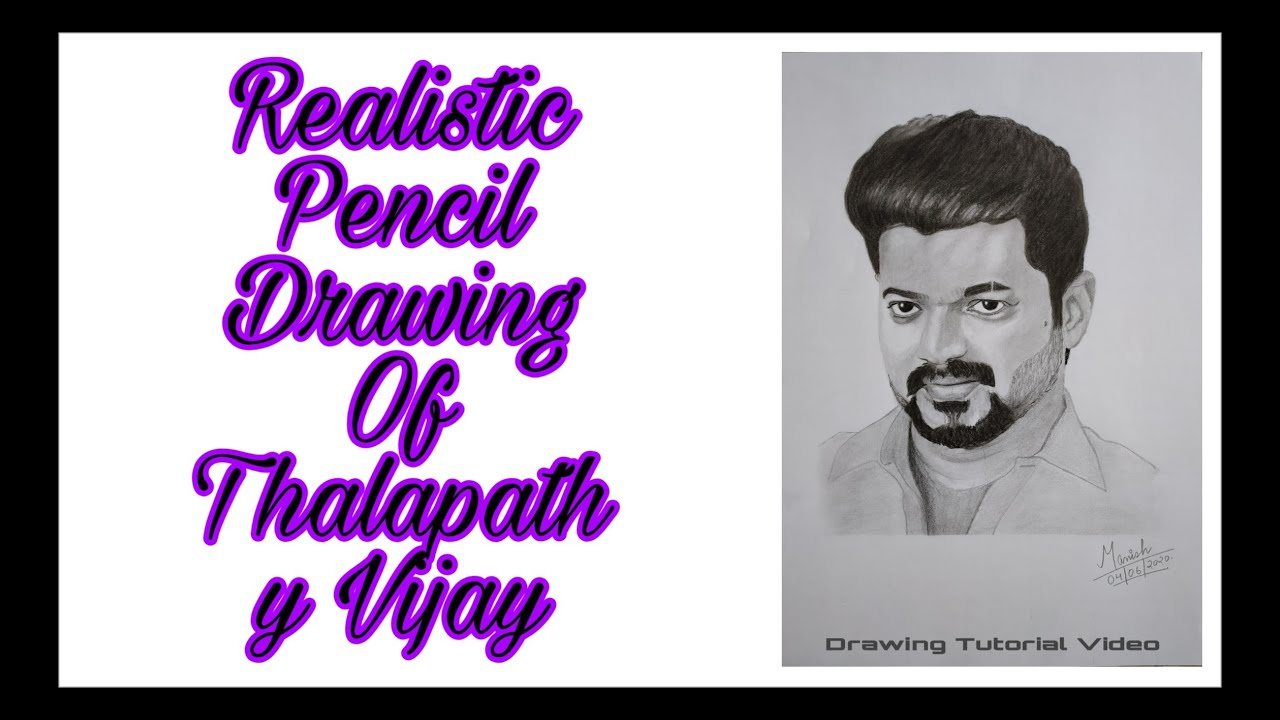 How to draw Thalapathy Vijay || Realistic Pencil Drawing ...