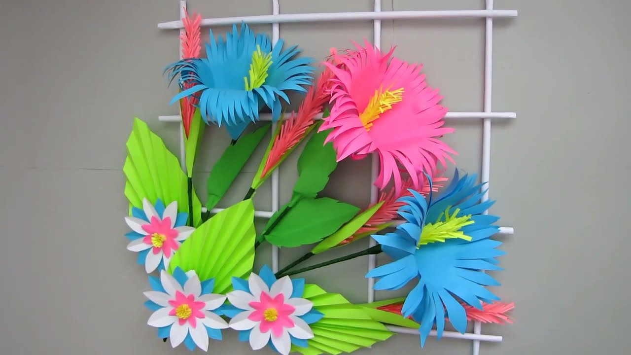 Simple Home Decor. Wall Decoration. Hanging Flower. Paper Craft Ideas