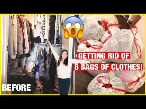 Clean with me Decluttering & organizing my closet! 8 BAGS OF CLOTHES time lapse