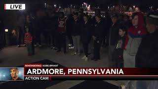 Mourners gather outside Lower Merion High School following death of Kobe Bryant