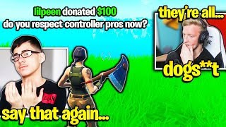 TFUE *DISRESPECTS* CONTROLLER PROS after USING AIM ASSIST! (Fortnite)