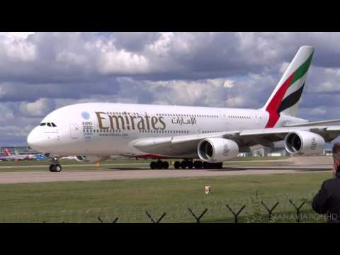 Emirates A380 Crosswind Take Off from Manchester Airport