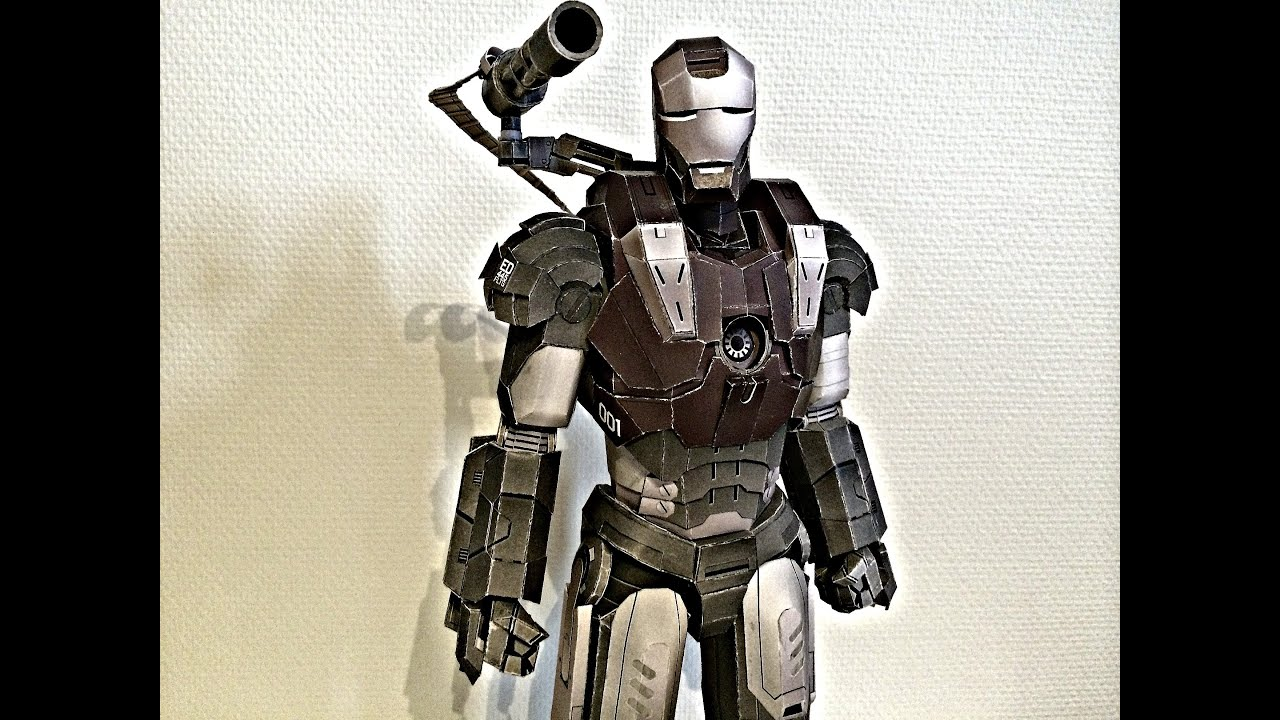 Papercraft Iron Man War Machine paper model assembling (Papercraft)