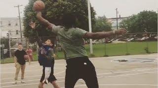 Joel embiid viciously blocks kids' shots at neighborhood court