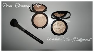 Demo + Comparison ABH So Hollywood and Becca Champagne Pop