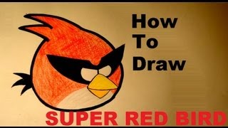 How to draw Super Red Bird from Angry Birds Space drawing lesson