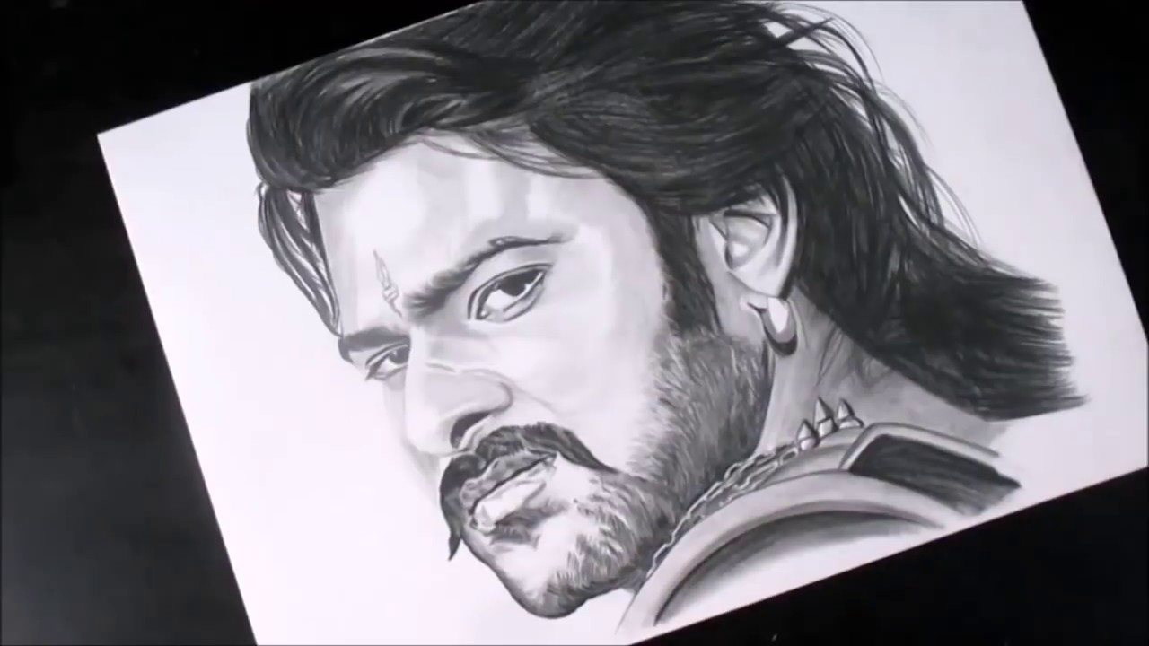 Realistic drawing bahubali sketch of prabhas pencil sketch