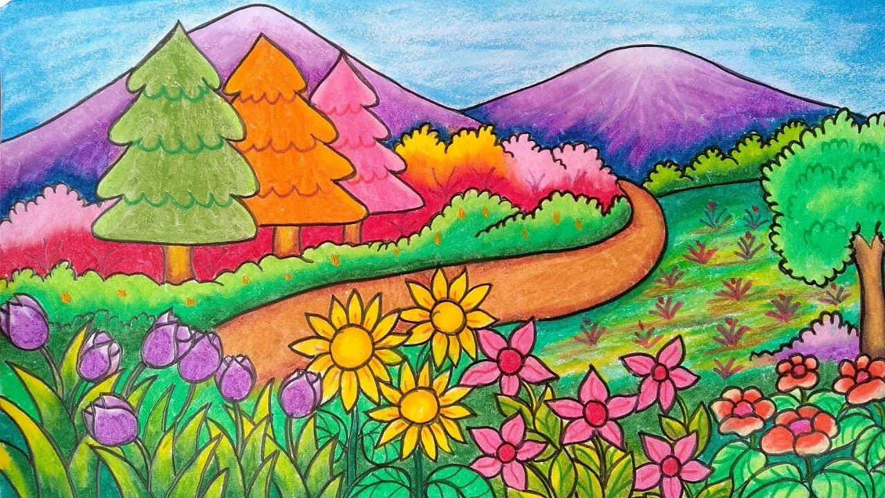 Begini Contoh Gambar Taman Bunga Untuk Anak Sd yang Wajib ...