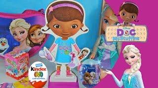 Doutora Brinquedos Boneca Roupa Magnetica Doc McStuffins Dra Rainha Elsa Kinder Ovo Surpresa Video