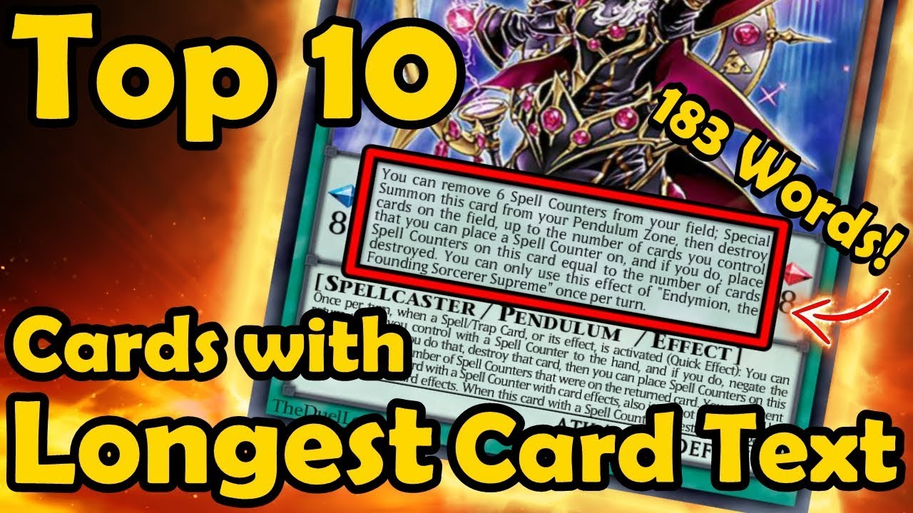 Top 4 Cards With The Longest Card Text in YuGiOh - YouTube