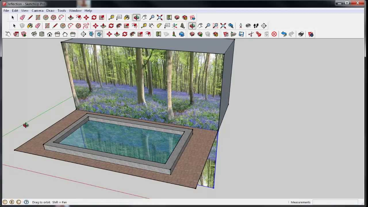 Sketchup water or glass reflection youtube for Mirror in sketchup