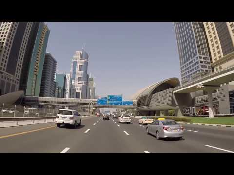 Dubai, UAE - Drive from Atlantis The Palm Jumeirah to WTC Roundabout - HD Quality