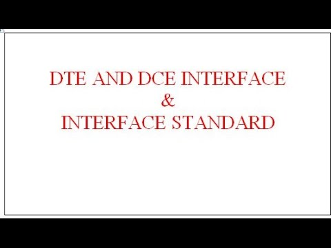 DTE AND DCE INTERFACE, INTERFACE STANDARD