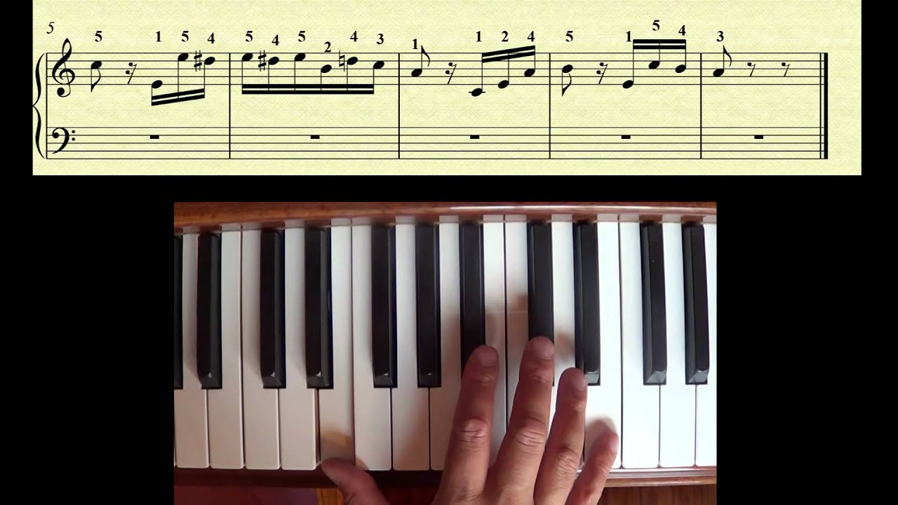 Beginner Piano -- Fur Elise right hand theme with fingering