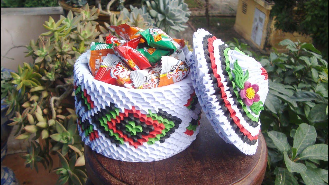 3D Origami basket with flowers tutorial   DIY Paper Craft Basket ...   720x1280