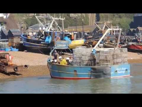 Hastings Fishing Boats Launching & Beaching From The Stade Hastings. 1066 Country HD