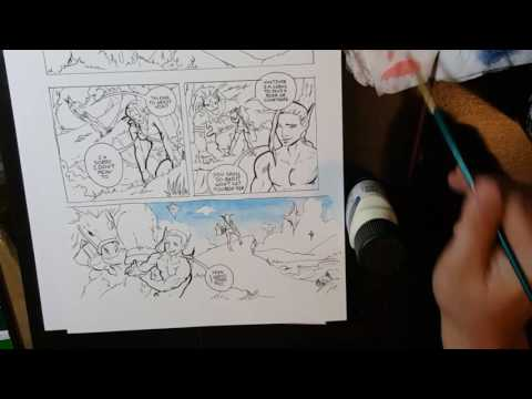 How to color comic panels with watercolors