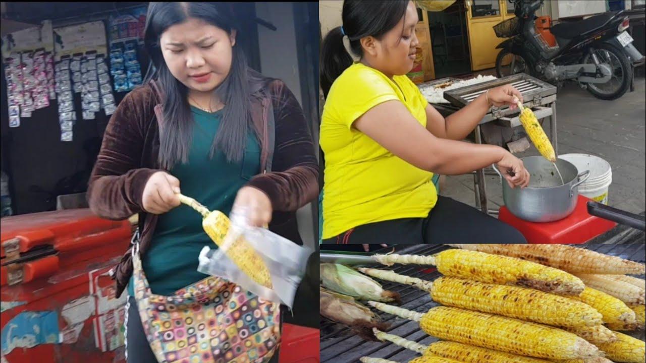 មកទិញពោតអាំងញ៉ាំនៅតាមផ្លូវលំ១០០ខ្នងសង្កាត់ទឹកថ្លាខ័ណ្ឌសែនសុខ/Roasted Corn /How to Make Corn Grilled
