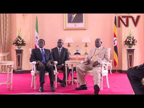 Equatorial Guinea's President Theodore Nguema in Uganda on a One day state visit