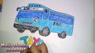 how to draw tayo the little bus - cara menggambar bis kecil tayo