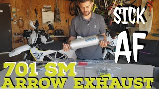 Husqvarna 701 SM Arrow Exhaust Install & Sound Test Baffle On and Off