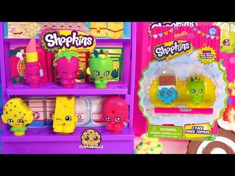 Shopkins Pencil Toppers 2 Packs School Supply -  Fun Toy Unboxing Video Cookieswirlc