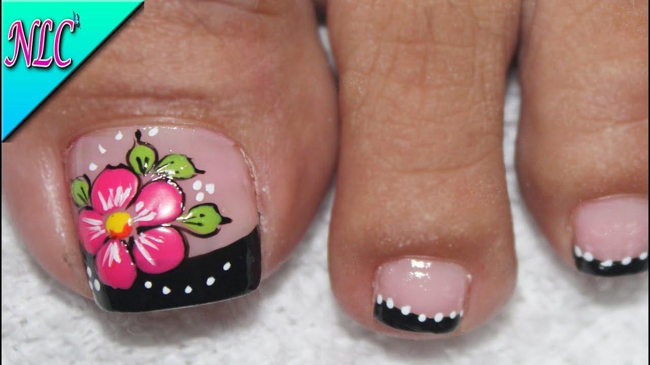Diseño De Uñas Para Pies Flor Principiantes Muy Fácil Flowers Nail Art Nlc