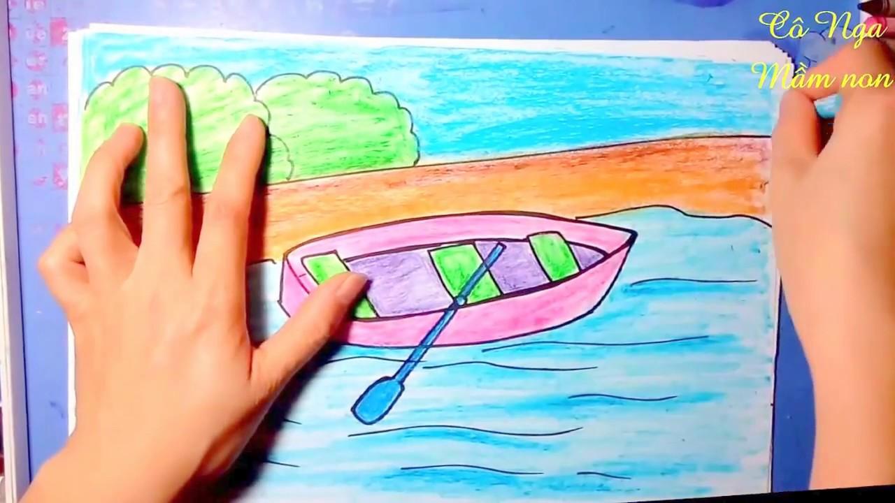 Dạy bé vẽ thuyền chèo- Hướng dẫn vẽ và tô màu  thuyền- How to draw and color a rowing boat