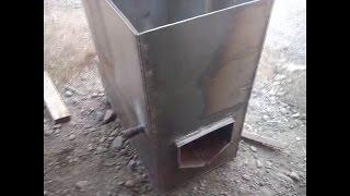 как сделать печь для бани из металла своими руками(Ещё один вариант банной печи. Бак 200 литров, металл 5мм, вес 87 кг. Банная печь будет эксплуатироваться в частн..., 2014-05-18T15:44:50.000Z)