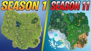 Evolution of the Fortnite Map (Season 1 - Season 11)