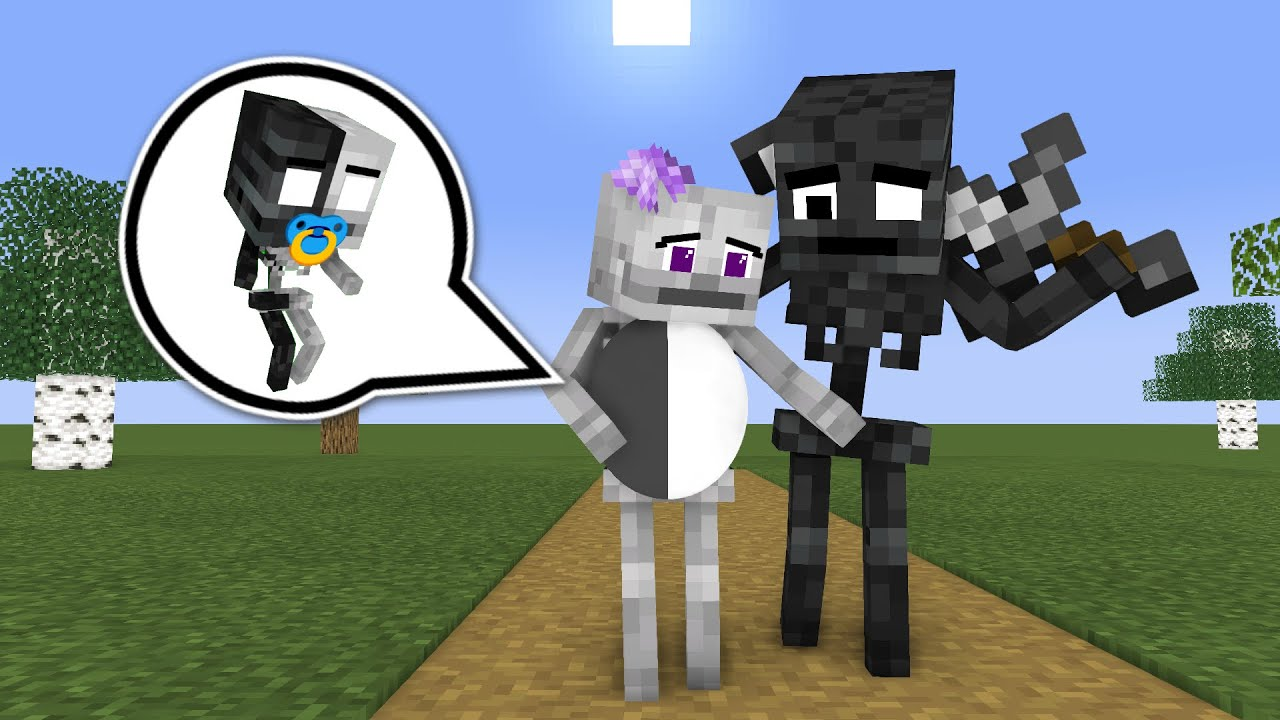 Monster School : WITHER & SKELETON GIRL BABY STORY - Minecraft Animation