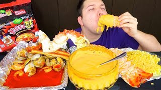 CHEESY KING CRAB LEGS & SPICY NOODLE SEAFOOD BOIL • Mukbang & Recipe