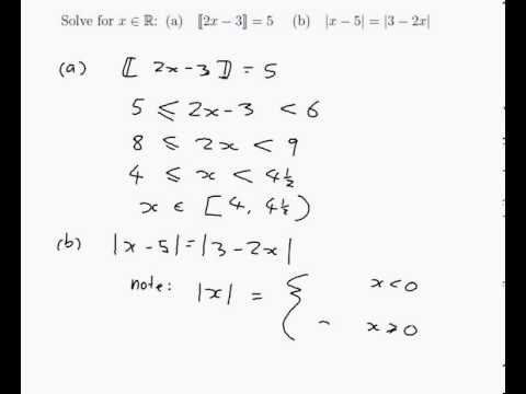 Example solving equations involving the floor and for Floor function example
