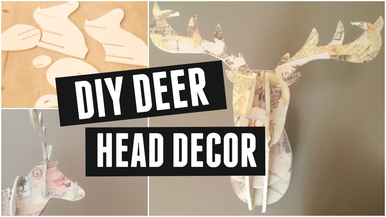 DIY Deer Head vintage home decor   YouTube. Diy Vintage Home Decor. Home Design Ideas