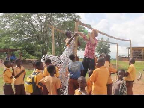 How To Make a Soccer Net from Water Sachets -- Peace Corps Ghana