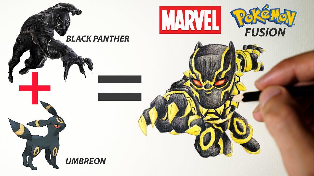 black panther umbreon marvel pokemon pokemon fusion drawing
