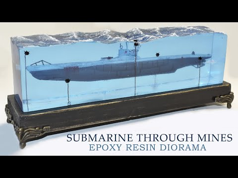 SUBMARINE PASSING THROUGH MINES DIORAMA-Epoxy Resin Art
