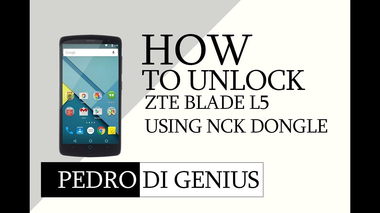How to unlock zte blade L5 using nck dongle