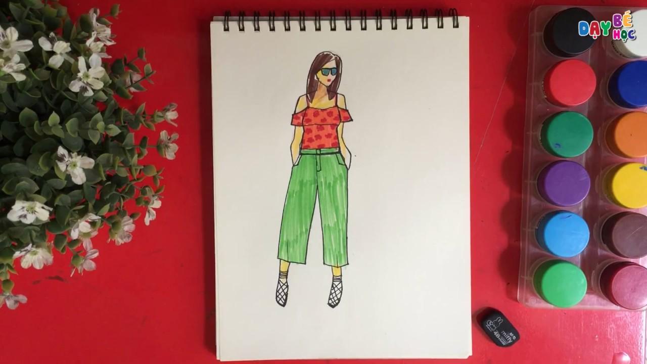 Tập thiết kế thời trang   Cách vẽ bộ áo trễ vai và quần baggy   Dạy bé học