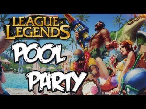 League Of Legends - Pool Party Graves, Leona, Renekton & Lee Sin Skins Gameplay!