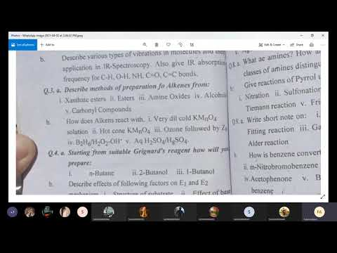 Organic Chemistry Past paper Discussion 1