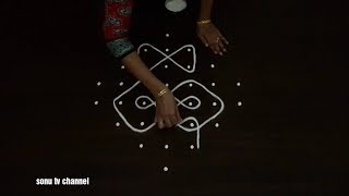 8 Dots kolam||Beginners kolam||small kambi kolam ||Sikku kolam ||how to draw||