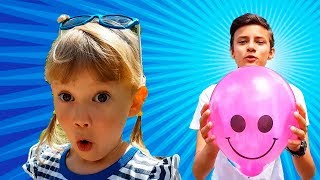 Alena and Pasha outdoor pretend play with Baloons video for kids by Chiko TV