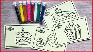 ĐỒ CHƠI TÔ MÀU TRANH CÁT CÓ 10 HŨ CÁT & 4 TRANH CÁT - Sand painting toys (Chim Xinh)