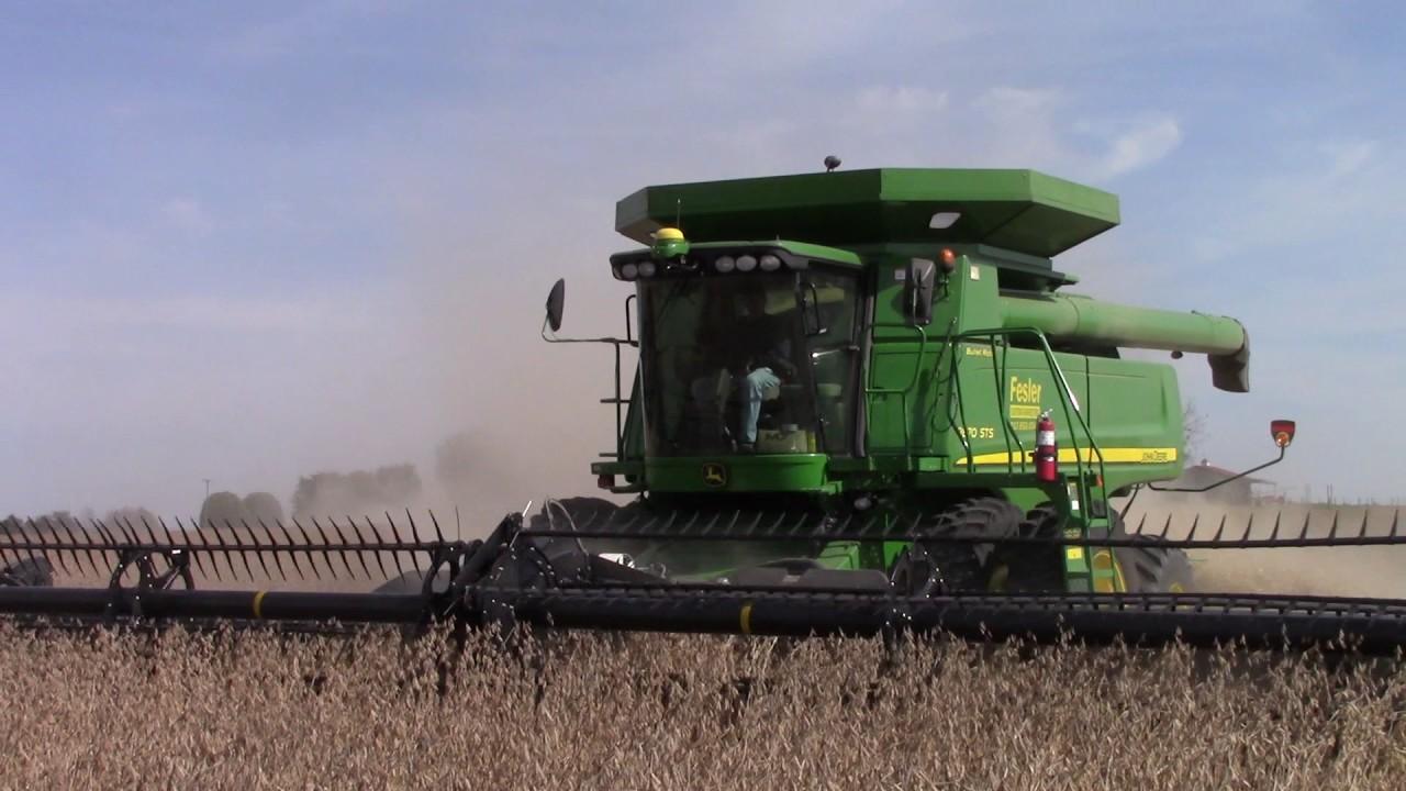 John Deere 9870 STS Combine Harvesting Double Crop Soybeans