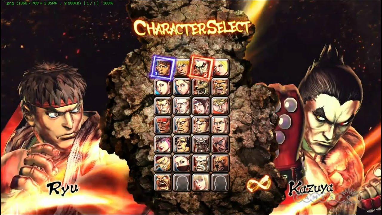 Street Fighter x Tekken characters select screen ...